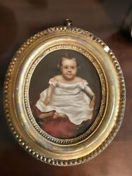 Antique Oil On Board Of A Young Girl In Oval Gilt Frame