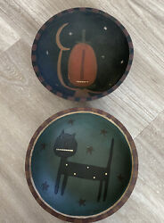 Vtg Whimsical Wooden Hand Carved And Painted Pumpkin And Black Cat Halloween Bowls