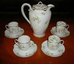 Haviland Limoges Chocolate / Coffee / Tea Set, Pot And 4 Cups And Saucers