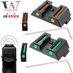 Fiber Optic Front And Rear Sight For Glock 17 17l 19 22 23 24 26 27 33 34 35 38 39