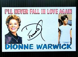 Dionne Warwick Iand039ll Never Fall In Love Again Autographed 3x5 Index Card B