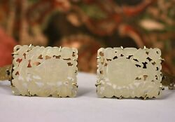 Antique Chinese 10k Gold Carved White Nephrite Jade Sweater Clip Brooch Pins X 2