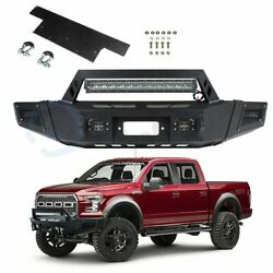 Black Powder Coat Steel Front Winch Bumper W 5x Leds For 09-14 Ford F-150 F150