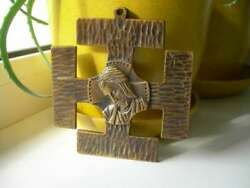 Antique Panel Cross Relief Bronze Jesus Royal Lily Icon France With Sign Gifts