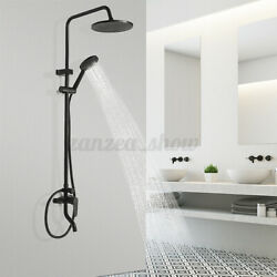 Black Wall Mount Rain Shower Set Combo And Handle Shower And Tub Filler Mixer Ta