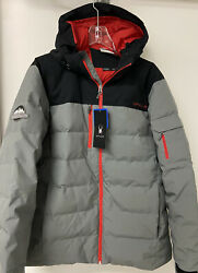 Spyder Midweight Down-fill Water Resistant Mens L Gray And Red Puffer Ski Jacket