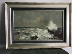 Antique Oil Painting Attributed To E. De Martino 1838-1912 Seascape