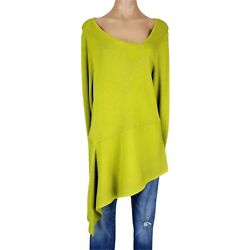 Chicos Size 3 Sweater Tunic Womens Xl Chartreuse Green Ribbed Knit Asymmetrical