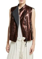 Brunello Cucinelli Leather Glossy Asymmetric Zip-front Vest Nwt 9795