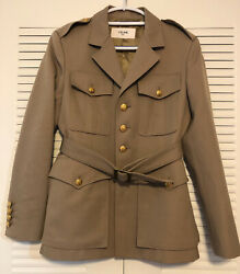 Celine Military Jacket In Diagonal Wool Gold Buttons Nwt 3100 Sz 6 Us/ 38fr
