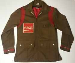 Vintage 60's Coke Coca Cola Delivery Driver Jacket Unitog Union Made Brown/red