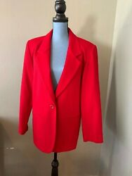 Vintage Mark Alan Wool Womenand039s Career Casual Blazer Shoulder Pads Red Size 10