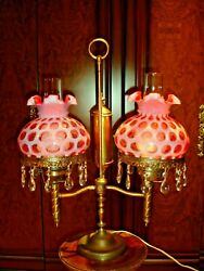 Fenton Brass Double Student Lamp W/cranberry Coin Dot Opalescent Shades Label