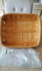 2001 Longaberger Classic Paper Tray Basket With Plastic Protector New