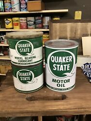 Set Of 3 Vintage Quaker State Oil And Grease Cans 2 Full