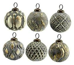 Auldhome Farmhouse Ball Ornaments Set Of 6 Distressed Metal Silver Gray