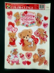 Vintage Color Clings Happy Valentines Day Static Cling Window Decorations