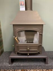 Clearview Vision 500 Multi-fuel Stove With Low Canopy In Honey-glow Brown