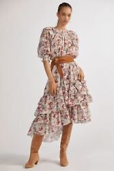 Anthropologie Floral Puff-sleeved Maxi Dress By Magali Pascal Sizem 720 Nwt