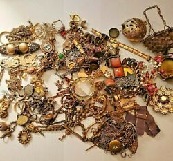 Antique Vintage Gold Filled Plated Sterling Scrap Repair Jewelry And Parts 504g