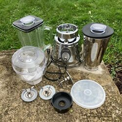 Vintage Oster Osterizer Deluxe Model 564a Chrome Beehive Glass Blender Bundle