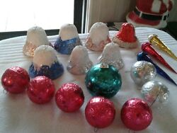 1940s-50s Vintage Christmas Ornaments Christmas Candy Holder Paper Machet Mica