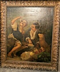 Antique Oil Painting Pie Eaters Copy Murillo Fabulous Large Gesso Wood Frame