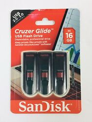 Sandisk 16gb Cruzer Glide Usb 2.0 Flash Drive, 3 Pack - Sdcz60-016g-aw46t, New