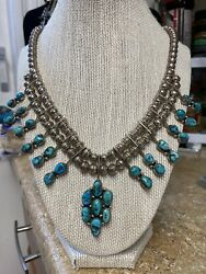 Native Navajo Turquoise And Sterling Necklace Gorgeous Stones 🏜🏜