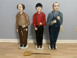 Union Don Featherstone 3 Stooges Set Christmas Blow Molds Moe Larry Curly As-is