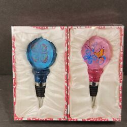 Lot Of 2 Bottle Stoppers Wine Champagne Liqour Corks Pink Blue