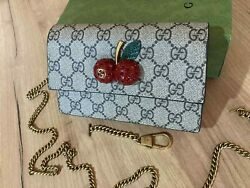 GUCCI Women Mini Bag Cherry GG Beige Canvas Gold Chain Made in Italy Authentic $499.00
