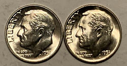 1951 P And D Roosevelt Dime Lot Lot 90 Silver