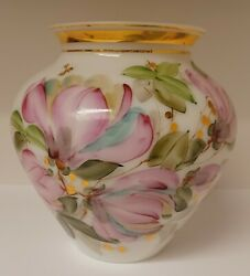 Vintage Charleton Handpainted Milk Glass Vase. Pink And Green With Gold Accents.