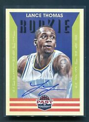 2012-13 Panini Past And Present Lance Thomas Rookie Rc Auto Hornets 157