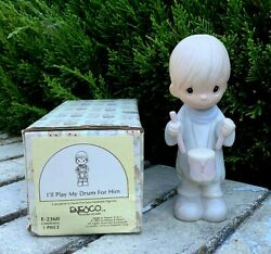 Precious Moments 1982 I'll Play My Drum For Him E-2360 Nativity Excellent In Box