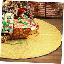 Christmas Tree Skirt Gold48 Inch Sequin Double Layers Xmas Tree Mat New Year