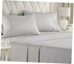 Size Sheet Set - 4 Piece Set - Hotel Luxury Bed Sheets - Extra Queen Light Grey