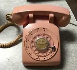 Pink Rotary Desk Phone Vintage 1960 Bell System By Western Electric G3 Tested