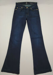 7 For All Mankind The Slim Trouser Flare Dark Wash Blue Jeans Womens Size 26x34