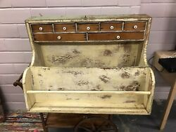 Antique Primitive Vtg Old Green Paint Wall Cupboard Cabinet Tool Box 33 X 20andrdquo