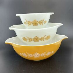 Set Of 3 Pyrex Butterfly Gold Cinderella Casserole Dishes 444 443 441 Floral Vtg