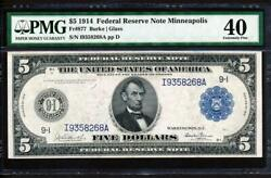 Fr.877 1914 5 Minneapolis Burke-glass Frn+ Pmg 40 Extremely Fine Collectible