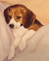 BEAGLE ON COUCH ART PRINT Dog Art Print from Watercolor by P.Tarlow