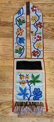 Turn Of The Century Native American Woodlands Fully Beaded Bandolier Bag