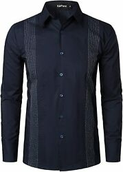 VATPAVE Mens Cotton Embroidered Shirts Slim Fit Business Dress Shirts Casual Lon