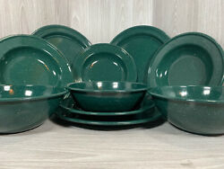 10 Pc Green Speckled Enamelware Camping Dishes Cookware Set Plates Bowls
