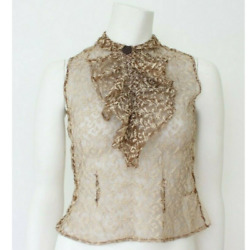 Antique Vintage Lace Blouse Brown And Cream Sleeveless Blouse Top