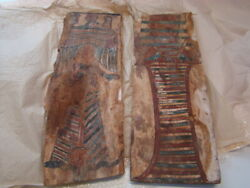 2 Original Painted Egyptian Wood Coffin Fragments Ptolemaic Period 305-31 Bce