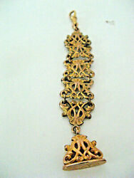 Ornate Victorian Gold Filled Pocket Watch Fob W/ Seal 5 Long - Exc